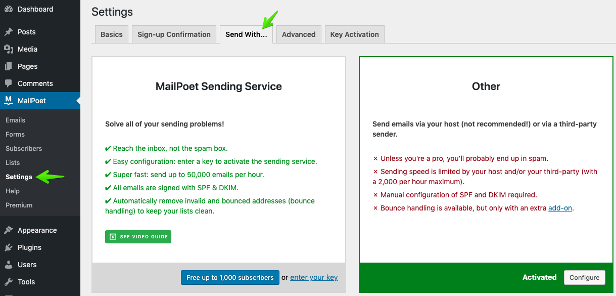 plugin mailpoet config