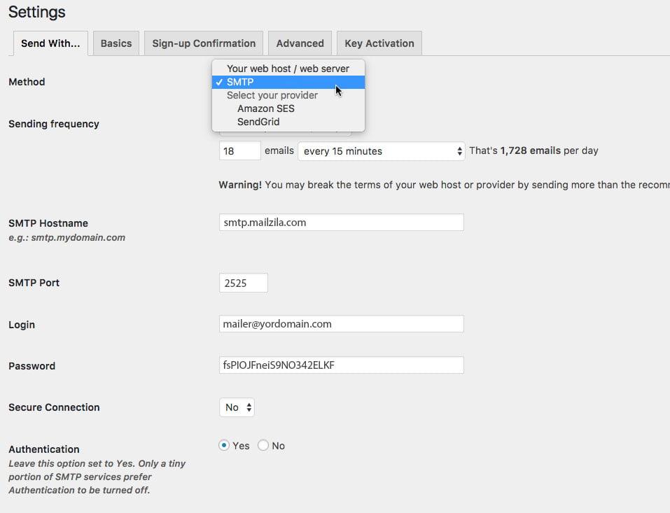 plugin mailpoet config2